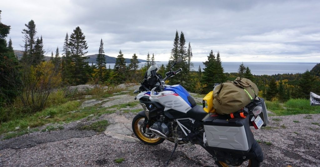 A big touring BMW R1250GS motorcycle great for cross-country riding.