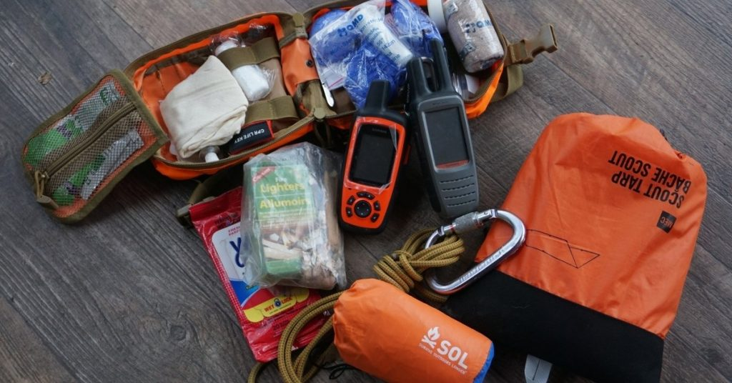 A Compact first-aid kit with an emergency overnight kit.