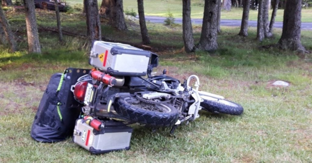 Motorcycle laying on a lawn.